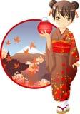 Autumn kimono girl Stock Photos