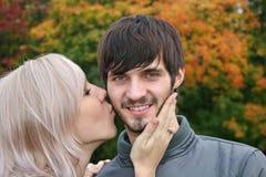 Autumn kiss stock images