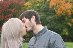 Autumn kiss Royalty Free Stock Photos