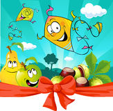 Autumn kite flying in nature,  apple and pear look - vector Royalty Free Stock Image