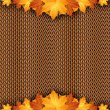 Autumn knitted warm background with space for text. Vector illustration Royalty Free Stock Photos