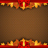 Autumn knitted warm background with space for text. Vector illustration Royalty Free Stock Images
