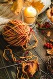 Autumn knitting of still life Stock Photos