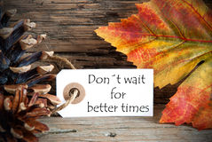 Autumn Label met Donts wacht op Betere Tijden Stock Foto's