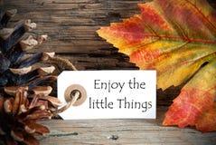 Autumn Label met Enjoy de kleine Dingen royalty-vrije stock afbeeldingen