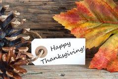 Autumn Label met Gelukkige Dankzegging Stock Foto's