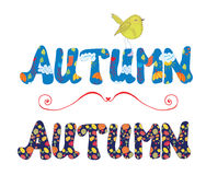 Autumn label for sale or card with floral pattern, bird Royalty Free Stock Photo