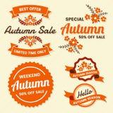 Autumn Label Vintage Vector Logo för baner vektor illustrationer