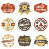 Autumn Label Vintage Vector Logo para la bandera stock de ilustración