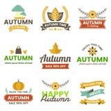 Autumn Label Vintage Vector Logo para la bandera libre illustration