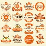 Autumn Label Vintage Vector Logo para la bandera ilustración del vector