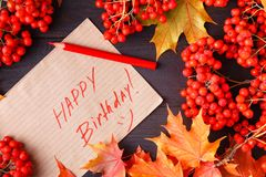 Autumn Label with the Words Happy Birthday on it stock images