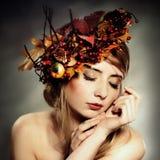 Autumn lady. Blonde caucasian woman portrait Royalty Free Stock Photos