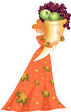 Autumn lady and cornucopia. Image of the autumn-lady and gold cornucopia with fruit. Fashionable dress with leaves. A seasonal illustration Stock Photography