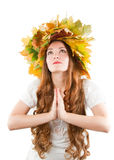 Autumn lady with crown of fall Royalty Free Stock Images