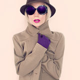 Autumn lady. Hat and gloves Glamour Royalty Free Stock Photos