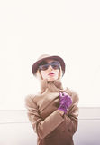 Autumn lady. Hat and gloves Glamour Royalty Free Stock Image