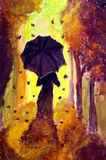 The Autumn Lady. Painting of a fantasy autumn lady who is wearing an umbrella Stock Image