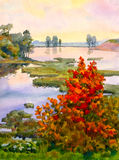 Autumn Lake. Watercolor landscape. At the lake autumn came Stock Photo