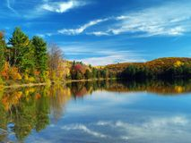 Autumn lake. Philippe lake in Gatineau Park, Hull, Canada royalty free stock photo
