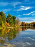 Autumn lake. Philippe lake in Gatineau Park, Hull, Canada royalty free stock image