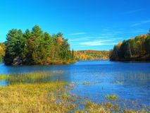 Autumn lake. Philippe lake in Gatineau Park, Hull, Canada stock images