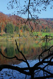Autumn lake. Autumn reflecting off of a Lake in Switzerland stock photo