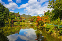 Autumn at the lake in Arashiyama Stock Photo
