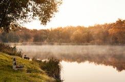 Autumn lake. Bench on the autumn lake shore Royalty Free Stock Photos
