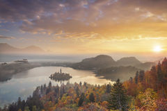 Autumn Lake Bled. Lake Bled with St. Marys Church of the Assumption on the small island. Bled, Slovenia, Europe royalty free stock image