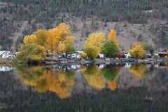 Autumn Lake, Cabin Reflections Stock Photography