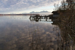 Autumn at lake Chiemsee in Bavaria, Germany. With blue sky Royalty Free Stock Image