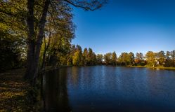 Autumn lake on Czech Moravia highland with blue sky, water and colorful old trees royalty free stock photo