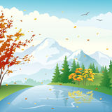 Autumn lake. Illustration of a beautiful autumn lake and forest on a windy day Stock Photos