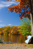 Autumn Lake Landscape. Colorful autumn lake landscape with fall folliage and boat Stock Photography