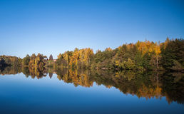 Autumn lake landscape. Autumn landscape, coloured forest on the lake bank, village on the hill, house. Great reflections on the absolutely flat water surface Stock Photos