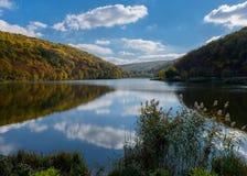 Autumn lake. Autumn leke with dramaic sky stock photography