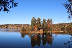 Autumn lake in magic color stock photography