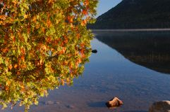 Autumn  lake in Maine. With reflections in the calm water Royalty Free Stock Photos