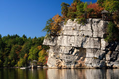 Autumn Lake and Mountain Cliffs Stock Image