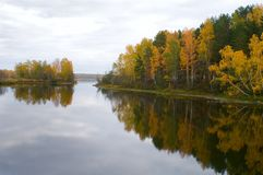 Autumn lake near the town of Kasli, Chelyabinsk region. The town of Kasli South Ural, Chelyabinsk region is surrounded by several lakes. Kasli are famous for the Stock Images