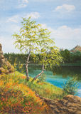 Autumn lake.Oil painting on canvas. Two yellowing birch trees on a lake Royalty Free Stock Photos