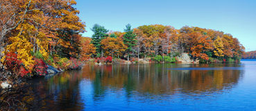 Autumn Lake Panorama stock images