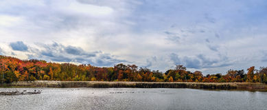 Autumn Lake Panorama Landscape Lizenzfreie Stockfotos