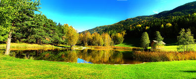 Autumn lake panorama Stock Photo