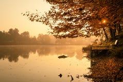 Autumn lake. Pier on autumn lake morning lights Royalty Free Stock Photos