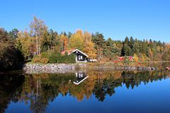 Autumn lake scenery around. Autumn lake scenery in Norway, blue sky and colored trees stock image