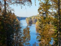 Autumn lake scenery with fall colors in nature park in Finland stock images