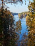 Autumn lake scenery with fall colors in nature park in Finland.  stock images