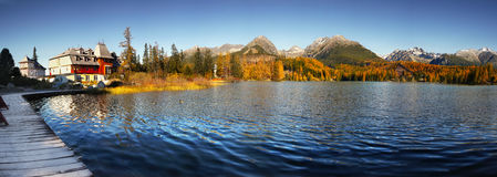 Autumn Lake Scenery, Landschapspanorama Royalty-vrije Stock Fotografie